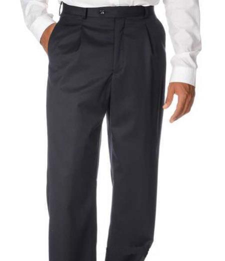 Mens Solid Pleated Dress Pants For man online Navy Wool Gabardine Slack unhemmed unfinished bottom