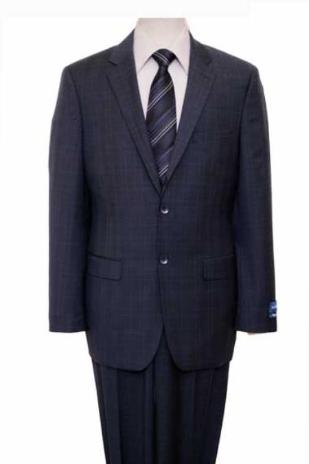 Mens Houndstooth Checkered Pattern Texture Wool Blazer Jacket Suit Navy Windowpane Plaid