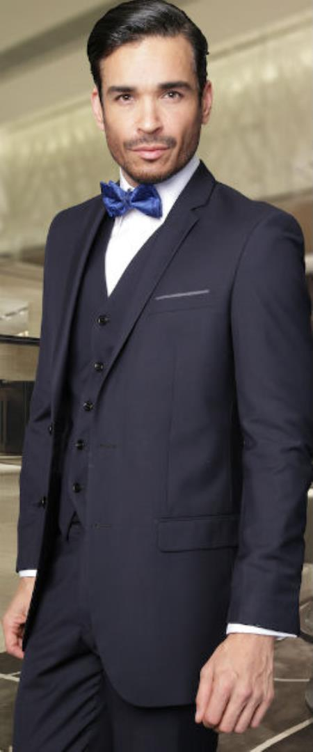 Mens 2-Button Vested 3 Pieces 3PC Slim Fitted Cut Skinny Lapel Wool Suit Dark Navy (Buy Wholesale 10PC&UP of this for $90)