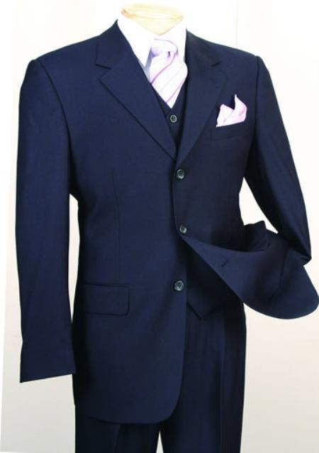 SKU#MF1902 2 or 3 Buttons three piece vested suit in Navy Blue Notch lapel Side Vented