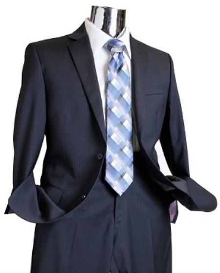 Mens Dark Navy Tone on Tone 100% Wool Suit Navy