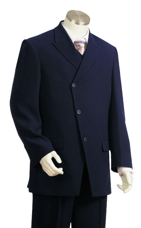Mens 3 Piece Fashion Dark Navy Double breasted Suit Wide leg Pants Style Suit