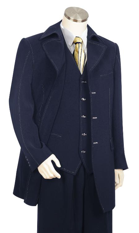 Mens Fashionable 3 Piece Dark Navy Zoot Suit