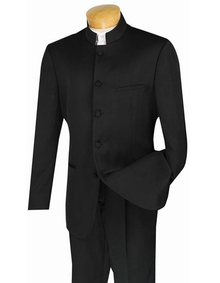 Mandarin_Black Men's Black Nehru Collar Design Suits with Single Pleated Pants