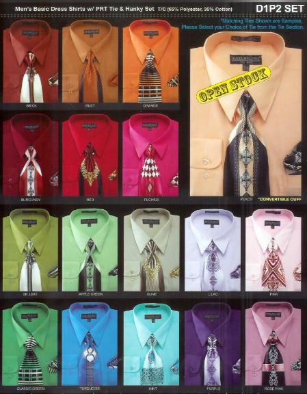 SKU#VN8965 Mens New Dress Shirt and Tie Set Available in 30 Colors