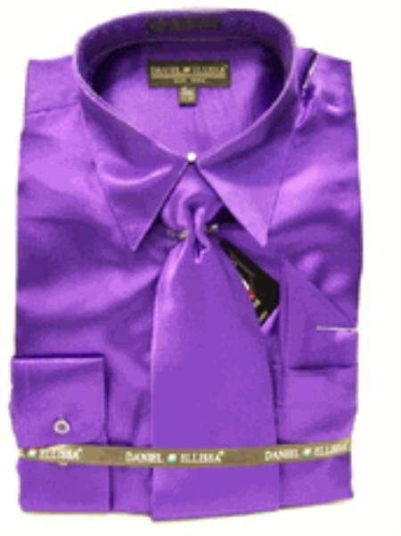 SKU#EJ818 Mens New Purple Satin Dress Shirt Tie Combo Shirts