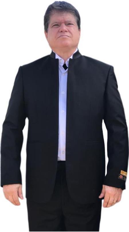 Alberto Nardoni Mandarin Banded No Collar Suit Black
