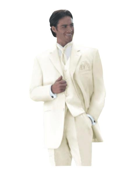 OFF White 3 Piece Mens Vested Super Extra Fine Smooth Side Vented Fabric Suit - Three Piece Suit