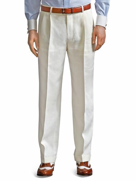 Ivory ~ Cream ~ Off White Pleated Dress Pant For Men unhemmed unfinished bottom