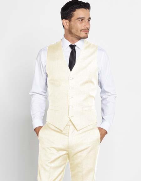 Mens Off White Regular Fit Vest + Matching Dress Pants Set + Any Color Shirt & Tie