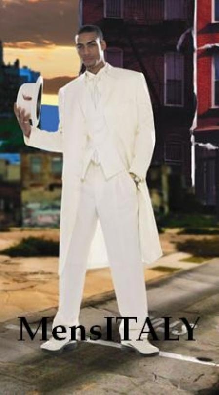 SKU# Eric_73P Mens Super Stylish Long Off White/Ivory/Cream Fashion Dress Zoot suit 38 Inch Long