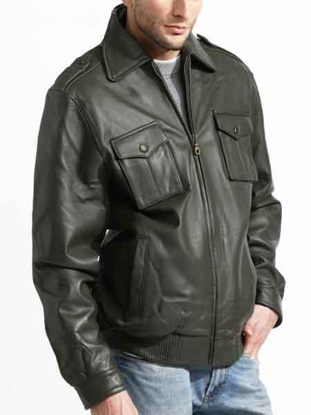 Mens Olive Zipper Closure Lambskin Leather Military Jacket
