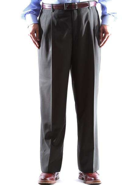Regular Size & Big and Tall Olive Green Dress Pants 100% Wool Pleated Pants Gabardine Fabric unhemmed unfinished bottom