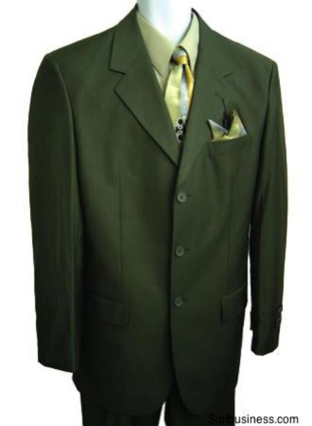 SKU#LKR09 Mens Olive Green Pure Wool Feel Rayon Viscose (SUPER 120) 3button $109