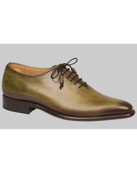 Buy AP454 Mens Olive Green Calfskin Lace Leather Shoes Authentic Mezlan Brand
