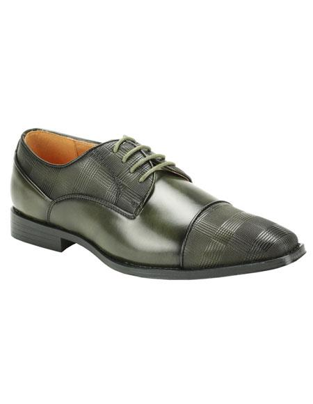 Buy CH1029 Men's Olive Green Cap Toe Two Tone Fashionable Dress Shoes
