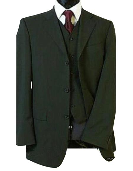 Olive Green Super 150's 2 Buttons Vested Super 150's Wool Feel poly~rayon developed by NASA