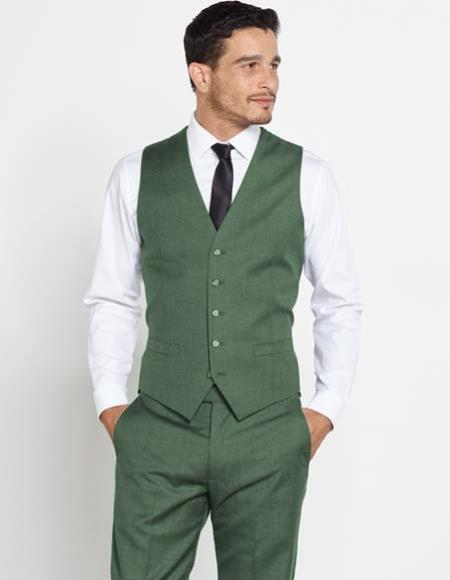 Buy SM2958 Mens Olive Green Wool Vest + Matching Solid Dress Pants Set + Color Shirt & Tie