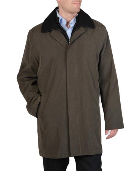 Mens 3/4 Length Rain coat with Removable Lining Trench Coat Olive