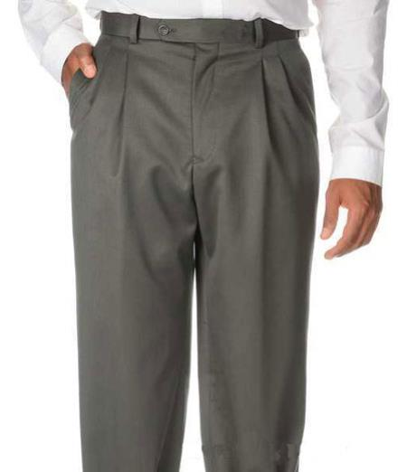 Mens Solid Pleated Dress Pants For man online Olive Green Wool Gabardine Slack unhemmed unfinished bottom