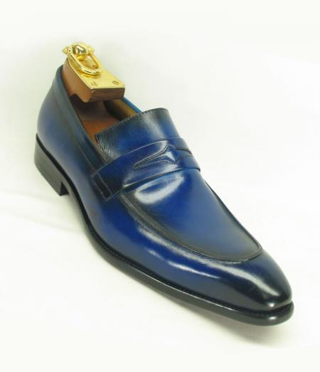 Mens Blue Ombre Slip On Style Fashionable Carrucci Loafer
