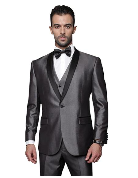 Classic Vested 1 Button Shawl Collar Charcoal Grey Sheen Look With Black Lapel Suit  Flat - Three Piece Suit