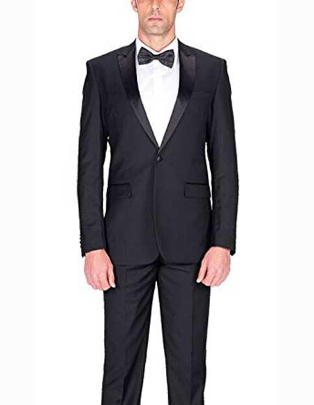 Authentic Braveman Mens 1 Button Single Breasted Black Slim Fit Tuxedo Suit With Satin Peak Lapels