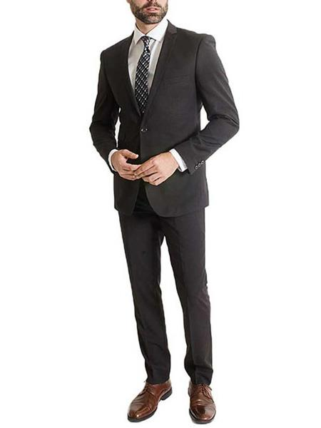 L & S France Mens Black 2 Piece One Button Poly/Rayon Notch Lapel Slim Fit Suit