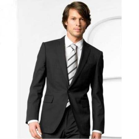 SKU#FK7400 Mens Stylish One Button Black Suit