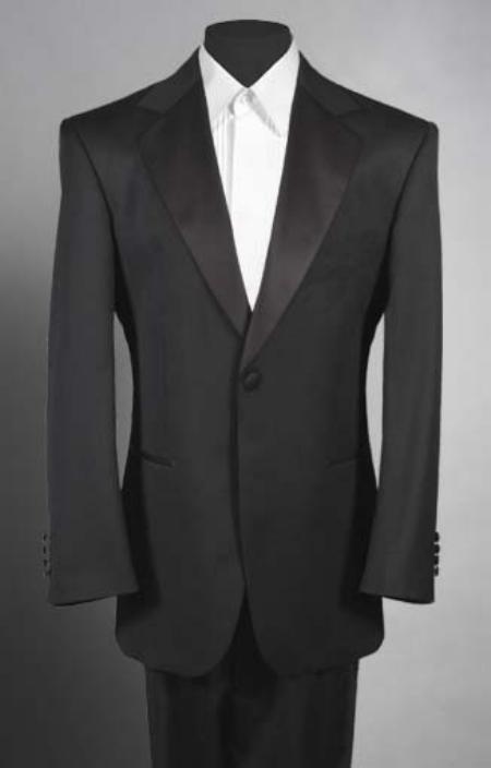 Men'sSKU#LL2 Black Tuxedo 1 One Button Notch