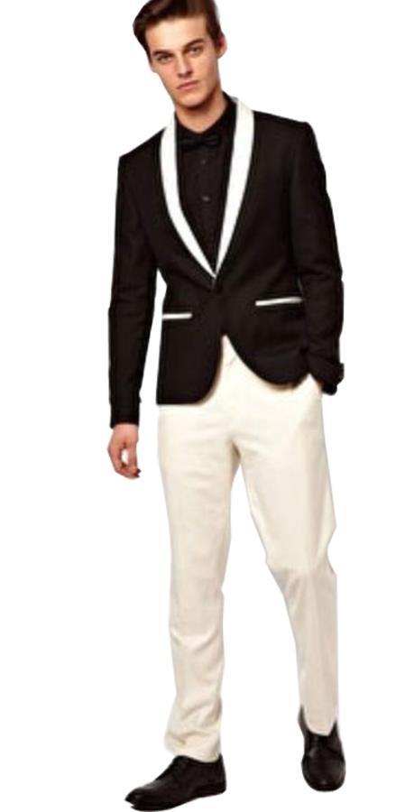 Men's Shawl Lapel Button Closure  Black Tuxedo Suit