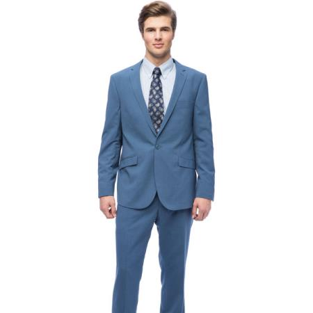 West End Mens Young-Look Slim-Fit Blue 1-button Suit