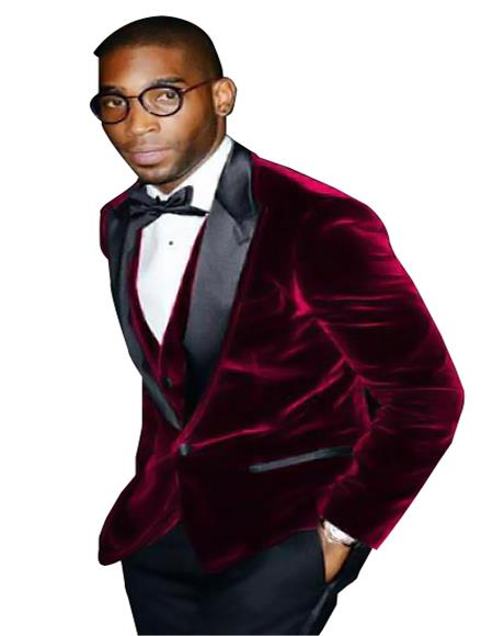 Mens Burgundy ~ Wine ~ Maroon Color Big And Tall Blazers Cheap Priced Velvet ~ Velour Clearance Blazer / Sport Coat
