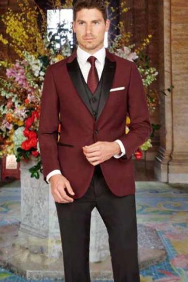 Mens Peak Lapel Slim Fit Black and Burgundy ~ Wine ~ Maroon Color 1 Button Satin Vest Arlan Tuxedo With Black Pant