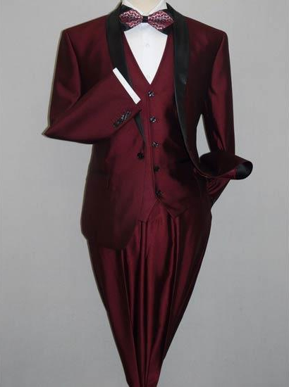 Shawl Tuxedo Black and Burgundy ~ Wine ~ Maroon Suit  Slim Fitted 3 Piece Two Toned Shiny Suit Sharkskin Burgundy Suit