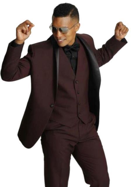 Mens One Button Shawl Black Lapel Tuxedo Burgundy ~ Wine ~  Vested Burgundy Suit