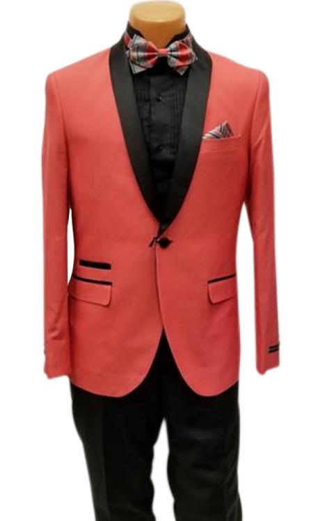 Men's One Button Shawl Lapel Coral Prom Wedding Tuxedo Jacket & Pants Perfect for Prom & Wedding