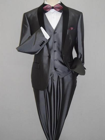 Men's Gray Black Shawl Tuxedo Slim Fitted 3 Piece Two Toned Shiny Sharkskin Suit