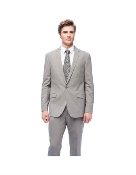 West End Mens Slim Fit Grey 1-button Suit