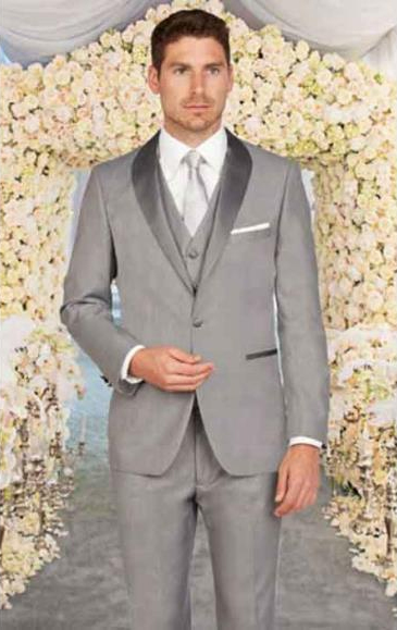 Men's Light Grey Shawl Lapel Slim Fit 1 Button ClosureVest Suit