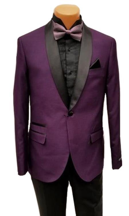 Men's One Button Shawl Lapel Purple Prom Wedding Tuxedo Jacket & Pants Perfect for Prom & Wedding