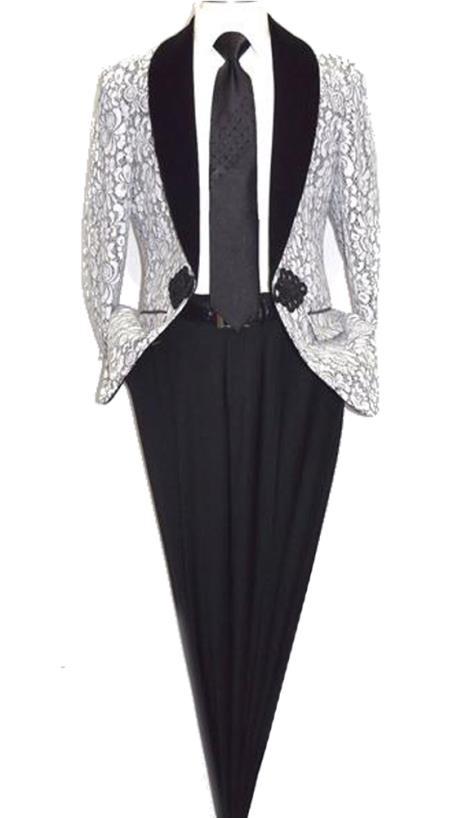 Men's Floral Lace Designed Shawl Lapel Paisley Sport Coat Blazer Dinner Jacket Tuxedo White Blazer