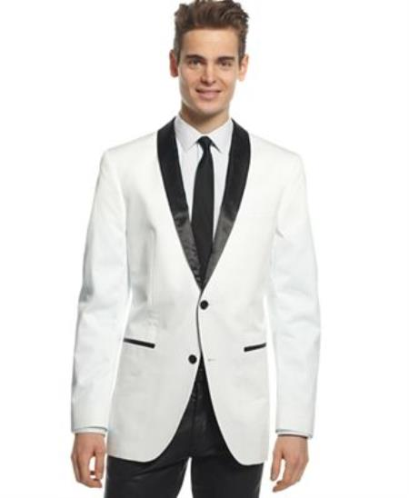 Mens 1 or 2 Buttons White And Black Kids Sizes Lapel Shawl Collar Blazer, Dinner Jacket