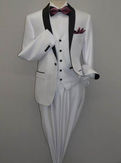 Mens Shawl Tuxedo Slim Fitted 3 Piece Two Toned Shiny Sharkskin White Suit