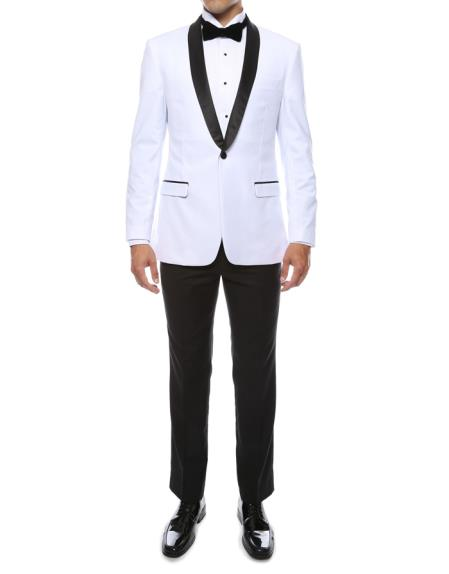 Mens One Button Shawl Lapel White 2 Piece Single Breasted Slim Fit Tuxedo Suit