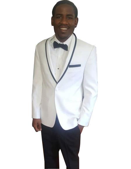 Men's  Trimmed Shawl Lapel white tuxedo suit