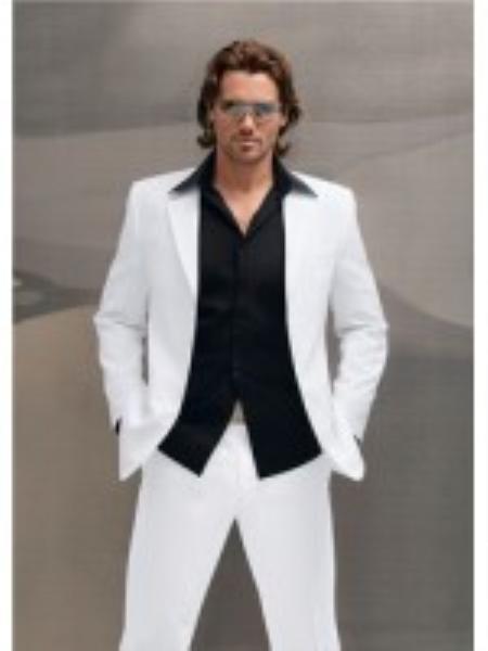 Mens Dinner Jacket in White Shawl Collar 1 Button + Free Bowtie
