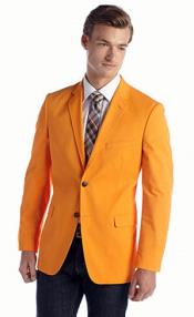 Mens Bright Orange Designer Fashion Dress Casual Blazer