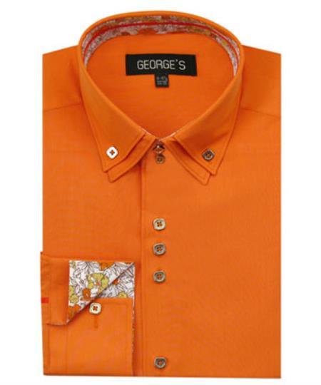 Men's Orange 60% Cotton 40% POLY Shirt Double Collar Design Sleeves Solid