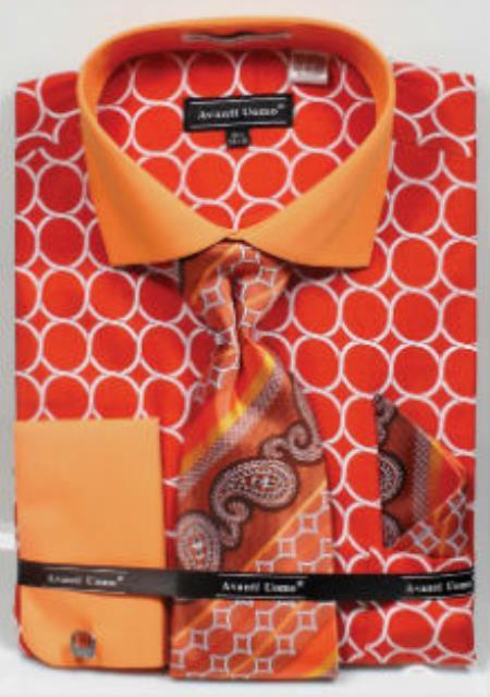 Men's Orange 100% Cotton French Cuff Dress Shirt